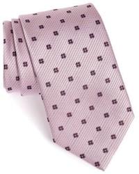Corbata de seda con print de flores rosada de Ermenegildo Zegna