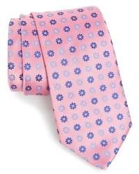 Corbata de seda con print de flores rosada de Eton