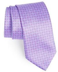 Corbata de seda con print de flores violeta claro de Canali