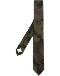 Corbata de seda de camuflaje verde oliva de Valentino Garavani