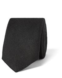 Corbata de seda de espiguilla negra de Prada