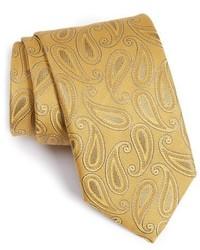 Corbata de seda de paisley amarilla de Canali
