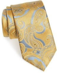 Corbata de seda de paisley amarilla de Ermenegildo Zegna