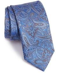 Corbata de seda de paisley celeste de Canali