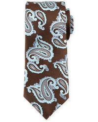 Corbata de seda de paisley en marrón oscuro de Ermenegildo Zegna