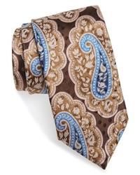 Corbata de seda de paisley marrón claro de Ermenegildo Zegna