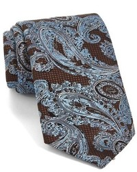 Corbata de seda de paisley marrón de Ermenegildo Zegna