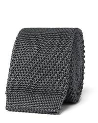 Corbata de seda de punto en gris oscuro de Burberry
