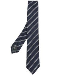 Corbata de seda de rayas horizontales azul marino de Ermenegildo Zegna