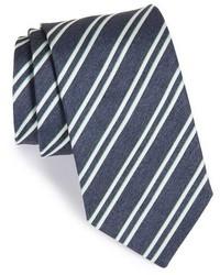 Corbata de seda de rayas horizontales azul marino de Eton