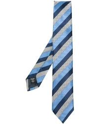 Corbata de seda de rayas horizontales azul de Ermenegildo Zegna