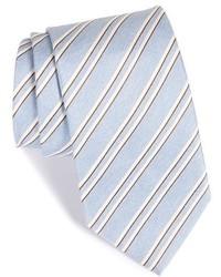Corbata de seda de rayas horizontales celeste de Eton