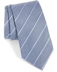 Corbata de seda de rayas horizontales celeste de John Varvatos