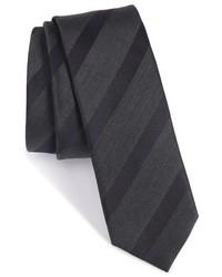 Corbata de Seda de Rayas Horizontales en Gris Oscuro de BOSS