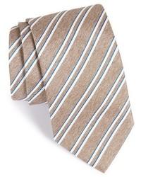 Corbata de seda de rayas horizontales marrón claro de Eton