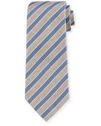 Corbata de seda de rayas horizontales marrón claro de Isaia
