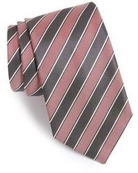 Corbata de seda de rayas horizontales rosada de BOSS