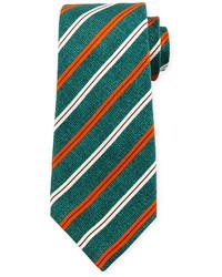 Corbata de seda de rayas horizontales verde de Kiton