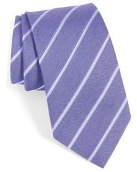 Corbata de seda de rayas horizontales violeta claro de John Varvatos