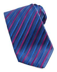Corbata de seda de rayas verticales azul de Charvet