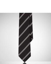 Corbata de seda de rayas verticales en negro y blanco