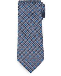 Corbata de seda de tartán celeste de Brioni
