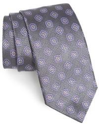 Corbata de seda en gris oscuro de David Donahue