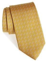 Corbata de seda estampada amarilla de Salvatore Ferragamo