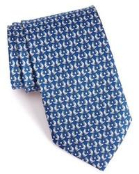 Corbata de seda estampada azul marino de Salvatore Ferragamo