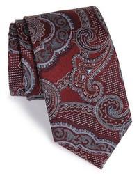 Corbata de seda estampada burdeos de Canali