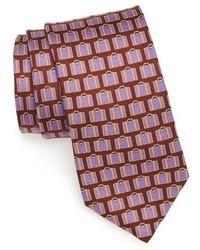 Corbata de seda estampada burdeos de Ted Baker