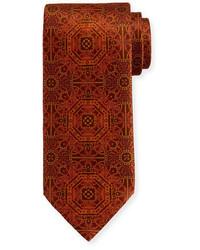 Corbata de seda estampada burdeos de Stefano Ricci