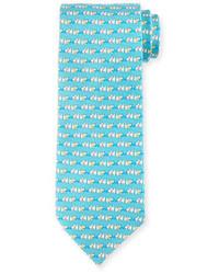 Corbata de seda estampada en turquesa de Salvatore Ferragamo