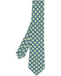 Corbata de seda estampada en verde azulado de Kiton