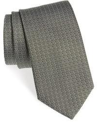 Corbata de seda estampada verde oliva