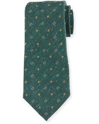 Corbata de seda estampada verde oscuro de Isaia
