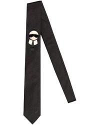 Corbata de seda negra de Fendi