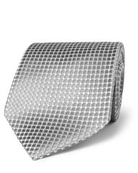 Corbata de seda plateada de Charvet