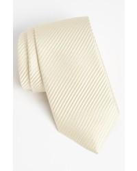 Corbata de seda tejida en beige de David Donahue