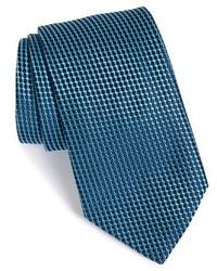 Corbata de seda tejida en verde azulado de Armani Collezioni