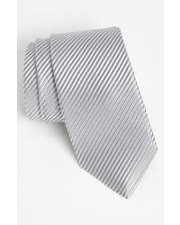 Corbata de seda tejida plateada de David Donahue