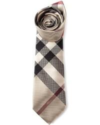 Corbata de tartán en beige de Burberry