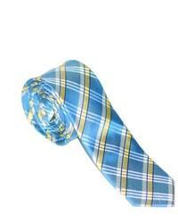 Corbata de tartán en blanco y azul