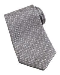 Corbata de tartán gris