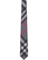 Corbata de tartán gris de Burberry