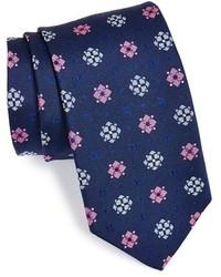 Corbata estampada azul marino de Thomas Pink