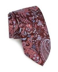 Corbata estampada burdeos