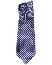 Corbata estampada en azul marino y blanco de Kiton