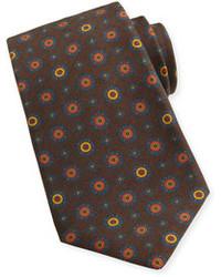 Corbata estampada en marrón oscuro de Kiton