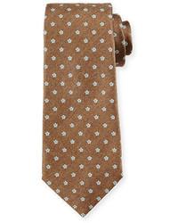 Corbata estampada marrón claro de Isaia